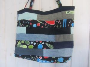 Einkaufstasche, Umhängetasche , Shopper mit Streifen, Patchwork, upcycling - Handarbeit kaufen