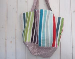 Tortentasche bunte Streifen, Einkaufstasche, Kuchentasche, runde Tasche , handmade