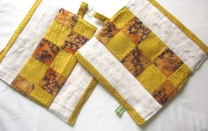 Topflappen, Quadrate in braun - beige, Patchwork, selbst genäht,  - Handarbeit kaufen