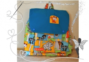 Handgenähter, farbenfroher Kinderrucksack mit  Zootieren