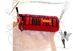 Rotes handgenähtes,ausgefallenes Schminktasche, Stiftemäppchen ,rot gestreift mit Kunstleder - Handarbeit kaufen