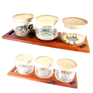 Müslibar mit 3 Gläsern / Cerealien-Spender mit 500ml oder 750ml Gläsern
