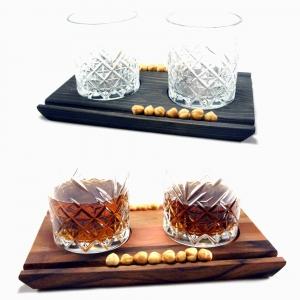 Whiskey Servierbrett inkl. Gläser mit Zigarren-/Snackhalter
