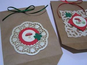 3 handdekorierte Geschenktüten mit Glücksmotiven
