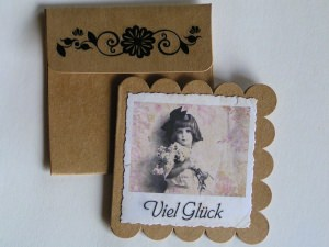 3 nostalgische Grußkärtchen mit Kuvert (Set 2)