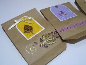 3 handdekorierte Geschenktüten-Einzelstücke- Set 8