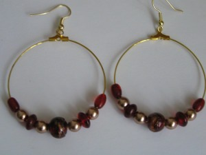 Creolen mit Perlen -Einzelpaar-