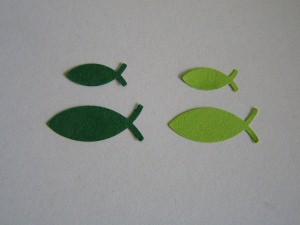 50 gestanzte Fische in 2 Farben und Größen -grün-