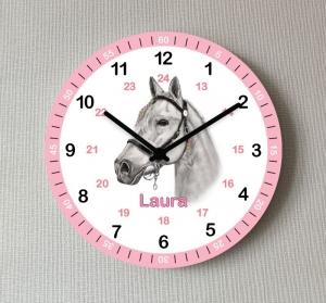 Kinder Wanduhr Pferd Lernuhr Rosa mit Wunsch Name Mädchen Kinderzimmer Uhr - Handarbeit kaufen