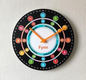 Kinderwanduhr bunte Lernuhr Wanduhr groß personalisiert mit Namen Schulanfang Kinderzimmer Uhr