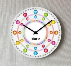 Kinderwanduhr bunte Lernuhr Wanduhr mit Name Uhr zur Einschulung Uhr 12/24 Stunden