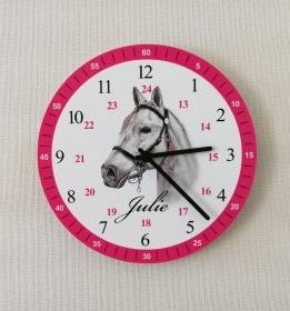 Kinderwanduhr Pferd Lernuhr Wanduhr mit Namen Pink Kinderzimmer Uhr