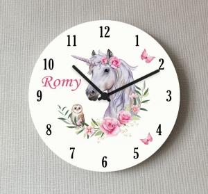 Kinderzimmer Wanduhr Einhorn Eule Rosen personalisiert 25 cm ohne Rahmen Kinder Uhr