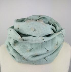 Musselin Loop Schal in Mint mit Pusteblumen ☆ kostenloser Versand ☆ Handmade