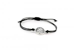 Makramee Armband in schwarz mit Lebensbaum Anhänger - OneSize Handmade