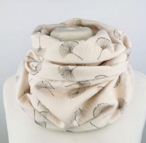Musselin Loop Schal mit Ginkoblättern in beige Handmade ☆ kostenloser Versand ☆