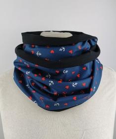 maritimer Loop Schal in blau mit Ankern und kleinen Herzen - Jersey Baumwolle Handmade ☆ kostenloser Versand ☆