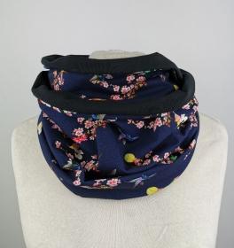 Loop Schal in blau mit Blumen und Vögeln Jersey Baumwolle Handmade  ☆ kostenloser Versand ☆