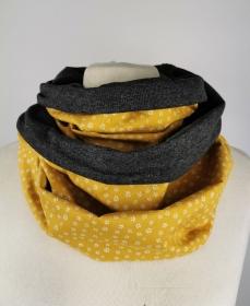 Loop Schal in senf gelb mit kleinen weißen Blüten Jersey Baumwolle Handmade ☆ kostenloser Versand ☆