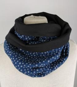 Loop Schal in blau mit kleinen weißen Blüten Jersey Baumwolle Handmade ☆ kostenloser Versand ☆