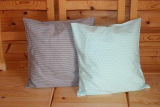 Kissenbezüge  2 Stk. mint/grau/weiß 40x40 cm