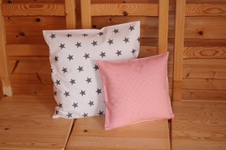 Kissenbezüge  2 Stk. grau/rosa Flanell