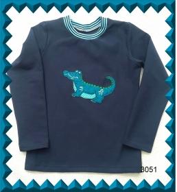 Kinderlangarmshirt mit aufgesticktem Krokodil als Applikation, Gr.: von 110-134 - Handarbeit kaufen