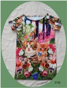 Mädchenkleid, Longshirt mit niedlichen Kätzchen im 3-D Aufdruck! - Handarbeit kaufen