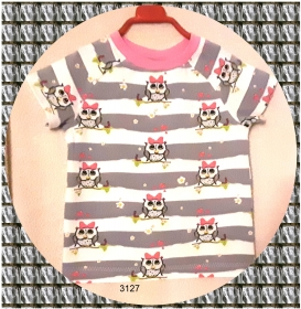 Mädchen T-Shirt mit lustigen Eulen, Gr.: 86 - Handarbeit kaufen