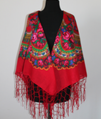 Ukrainischer Traditionsschal mit Fransen in floralem Design