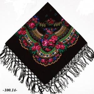 Ukrainischer Traditionsschal mit Fransen in floralem Design - Handarbeit kaufen