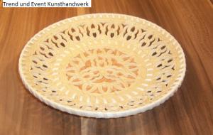 Handgearbeiteter Birkenrinden-Teller, Unikat, 19 x 3 cm