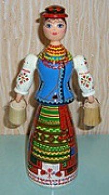 Handgemalte ukrainische Folklore-Puppen aus Holz, Unikate