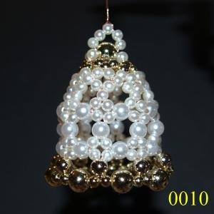 2 handgearbeitete Perlen-Glocken zum Aufhängen, 6 x 5 cm / Unikate , auf Draht gefädelt