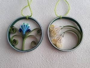 Sortiment 6 Frühlingsblumen im Ring zum Aufhängen aus Papier,  Handarbeit - Handarbeit kaufen