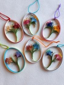 Sortiment 6 bunte Ostereier mit Blumen aus Papier zum Aufhängen, Handarbeit, Unikate - Handarbeit kaufen