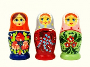 Handgearbeitete Matroschka mit 5 Püppchen, Blumenmotive, 8  cm