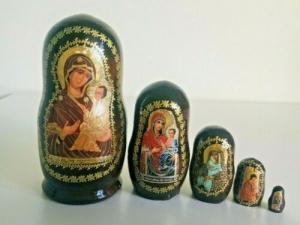 Handgearbeitete 5-erMatroschka Mutter Gottes von 'Tihvin