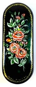 Handbemaltes russ. Brillenetui Blumen # 21, Unikat, mit Signatur des Künstlers
