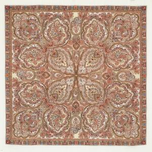 Russischer Schal mit Fransen 89x89 cm, Merino-Wolle, Design Russisches Gold - Handarbeit kaufen