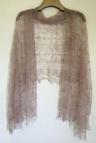 Handgearbeiteter Orenburg-Schal aus Ziegenwolle, Farbe: kaffeefarben, 70 x 170 cm / Unikat - Handarbeit kaufen