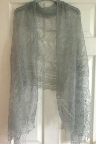 Handgearbeiteter Orenburg-Schal aus Ziegenwolle, Farbe: rauchgrau, 70 x 170 cm / Unikat - Handarbeit kaufen