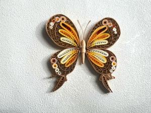 Schmetterling, braun-gelb, aus Papier zum Aufhängen, Handarbeit - Handarbeit kaufen