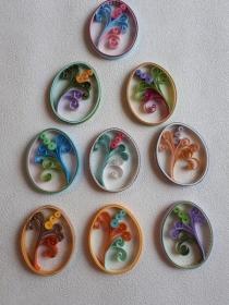 Sortiment mit 9 Ostereiern m. Blumen aus Papier zum Aufhängen, Handarbeit - Handarbeit kaufen