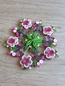 Kirschblütenkranz aus festem Papier, Handarbeit, Durchmesser 15 cm  - Handarbeit kaufen