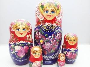 Handgearbeitete Matroschka, blau-violett, 5-er Set, Unikat  - Handarbeit kaufen