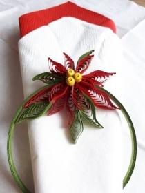 Weihnachtsstern aus Kartonpapier als Serviettenring, rot oder weiss,16 cm - Handarbeit kaufen