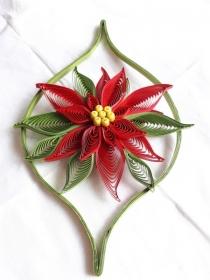 Weihnachtsstern m. Umrandung aus Kartonpapier, rot, pink oder weiss,18 x 11 cm, Handarbeit