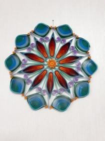 Mandala Feuer und Wasser, Durchmesser 23 cm aus Kartonpapier, Handarbeit  - Handarbeit kaufen