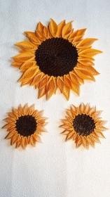 2 Sonnenblumen, klein, und 1Sonnenblume, groß, aus Kartonpapier, zum Aufhängen, Handarbeit, Unikate - Handarbeit kaufen